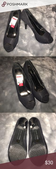 """Chinese Laundry Peep Toe Sparkly Heels Worn for about an hour with very minimal signs of wear, sparkly fabric with store sticker still in tact, 5"""" patent heels with a 1"""" platform that makes them more comfortable! Love these they just don't fit anymore after having a baby Chinese Laundry Shoes Heels"""