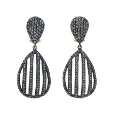 'lilah cage' oxidized gilver (a mix of gold + silver) + blue diamond drop earrings yossi harari s.s2013 betteridge