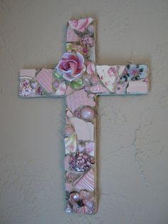 Mosaic Cross in Pink with Ceramic Rose Mosaic Art  beautiful