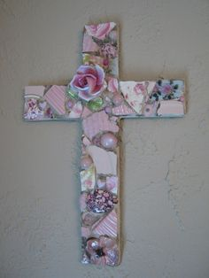 Mosaic Cross in Pink with Ceramic Rose Mosaic Art  beautiful