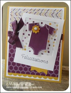 Stampin' Up! Moonlight dsp, Blackberry Bliss, Hello Honey;Carte bébé!
