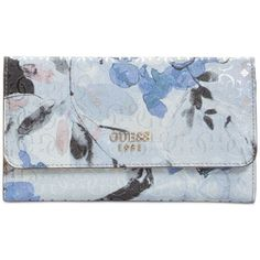 Guess Winett Slim Clutch ($40) ❤ liked on Polyvore featuring bags, handbags, clutches, blue floral, floral print purse, snap clutch wallet, blue purse, floral handbags and floral purse