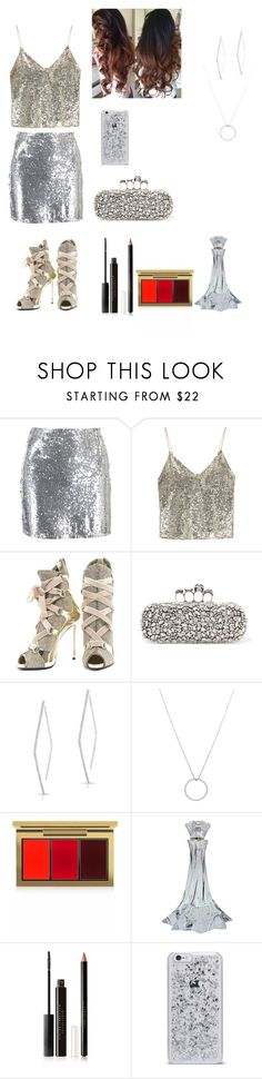 """New Year's party!!!"" by eliza-heffly ❤ liked on Polyvore featuring Boohoo, Alice + Olivia, Giuseppe Zanotti, Alexander McQueen, Roberto Coin, MAC Cosmetics and Estée Lauder"