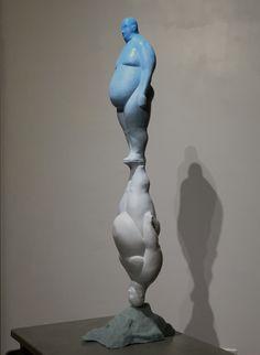 "Emil Alzamora ""Dropsonde"" #figurative #human #sculpture #resin 30""h http://patrajdas.com/artists/AlzamoraE/alzamora.html"