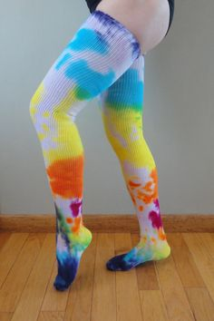 colorful tie-dye thigh-high socks Thigh High Boots Heels, Thigh High Socks, Thigh Highs, Heel Boots, Sexy Socks, Cute Socks, Nylons, Cool Tights, Opaque Stockings