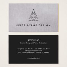 Geometric 3D Triangle Logo Chic Modern Designer Business Card