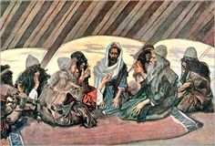 """Jethro and Moses, illustration by James Tissot ca. 1895. """"And Moses went out to meet his father in law, and did obeisance to him, and kissed him."""" (Ex. 18:7)"""