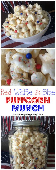 Patriotic sweet snack with only 3 ingredients! This almond bark coated Puffcorn mixes up in minutes!