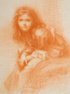 conté crayon drawing of Racheal by Susan Lyon