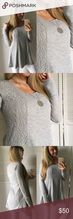 "Heather Grey Flowy Lace Top So pretty and feminine. Light weight, slight waffle texture, lace inset, long sleeve, and 90% Solid. I am wearing a nude bra and have no issue. Lays and flows nicely, cute casual top or dress it up. Goes with almost all bottoms. Selling in four colors as shown in last photo, each a separate listing.   •Modeling: Small •Fit: 1"" difference between sizes. See Below •Material: 64% Poly• 34% Ray• 2% Span  Please use ""Self Checkout"" if you aren't an Established…"