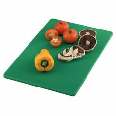 """Green Cutting Board Color: Green (Salad & Fruit). 17 3/4"""" x 12"""" x 1/2"""". by Hygiplas. $8.99. Our Green Cutting Board is a hardwearing, durable and simply styled design. Its color coded design is ideal for maintaining a high level of health and hygiene in any busy foodservice establishment, commercial kitchen, cafe or restaurant.. . This Green Cutting Board is coded for salad and fruit and is made from high quality polyethylene for tough, non-absorbent finish. St..."""