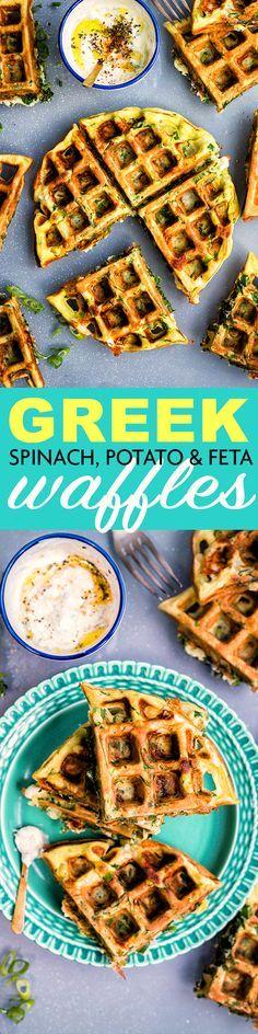 Greek Spinach, Feta and Potato Waffle Frittata with Tzatziki