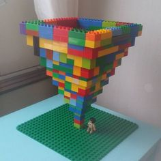 A Duplo Lego tornado sculpture. Lego art at its finest! Math Patterns, Lego Challenge, Lego Club, Lego Craft, Lego For Kids, Lego Storage, Lego Instructions, Lego Building, Lego Brick