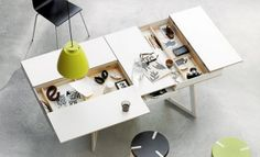 furniture, Modern Furniture Design Ideas With Hidden Compartments Desk Design Ideas With Black Office Chair Design And Green Pendant Lamp Ideas For Home Office Design Ideas With Small Furniture Ideas: Excellent Modern Furniture Design for Workspace Mesa Home Office, Home Office Desks, Office Furniture, Cool Furniture, Furniture Design, Office Table, Workspace Desk, Furniture Ideas, Cardboard Furniture