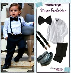 Mason Kardashian Style Look For Less tux bowtie suspenders
