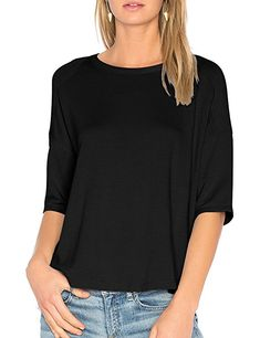 3f9c87dc77dd93 Shop the latest collection of ALLY-MAGIC Womens Cotton T-Shirt Sleeves  Casual Loose Top Blouse from the most popular stores - all in one place.