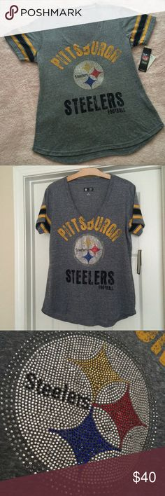 NWT Pittsburgh Steelers NFL Bling V Neck Tee Brand new with tags never worn! Official NFL Steelers Merchandise. This shirt is a MUST have for the Steelers Fan  Love the gorgeous bling! Size Large. Paid a fortune! Check out my Closet I love to Bundle Discount ❤️ NFL Tops Tees - Short Sleeve
