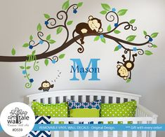Hey, I found this really awesome Etsy listing at https://www.etsy.com/listing/216188743/boy-jungle-monkey-wall-decal-with-name