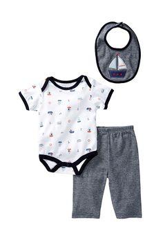 Rene Rofe   Little Sailor Bodysuit, Pant, & Bib Set (Baby Boys)   Nordstrom Rack