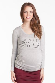 """Frenchie Tee """"Little Girl"""" Grey Long Sleeves"""
