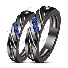 Wedding & Anniversary Rd Sapphire 14K Black Gold Filled His & Her Band Ring Set #br925silverczjewelry #CoupleWeddingSet