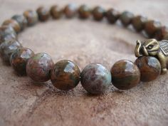 Men's Bracelet With Green Opal and Antique by MakeMeSmileJewelry