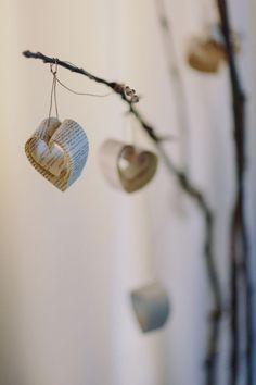 Wedding design by Abigail Nelson: handmade heart garlands