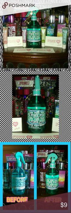 PINK VS ROOM SPRAY EMPTY BOTTLE THIS IS AN EMPTY BOTTLE WHICH I HAVE TO MANY OF THEM EMPTY SO I'M SELLING IT IS GOOD TO ADD TO UR PINK COLLECTION U COULD USE THIS EMPTY BOTTLE FOR A COUPLE OF THINGS U COULD USE TO WATER TO WET UR HAIR OR MIST UR PLANT OR LIKE THE LAST PIC SHOWING U OR MAKE UR OWN FABRIC SOFTENER TO SPRAY U SHEETS OR CURTAINS LIKE I DO JUST LITTLE IDEAS OF WHAT U CAN USE IT FOR   ♦ALSO U MUST HAVE A RATING HISTORY TO PURCHASE 5-15 OR MORE IF U DON'T HAVE ANY RATING HISTORY BE…