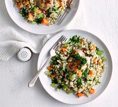 Tender chicken and wholesome pearl barley with a light herby dressing make this a great low-calorie, low-fat weeknight dinner