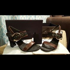 Classy Prada Black Denim & Dark Brown Sandals