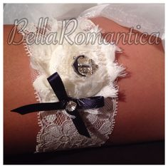 A personal favorite from my Etsy shop https://www.etsy.com/listing/193760251/nautical-garter-navy-and-ivory-garter