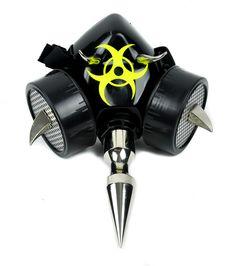 "6"""" Spike Bio Hazard Gas Mask Gothic Industrial Dual Respirator Zombie Halloween"