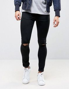 945bed78abd67 Asos Extreme Super Skinny Jeans With Knee Rips In Black  streetmensfashion  Male Fashion
