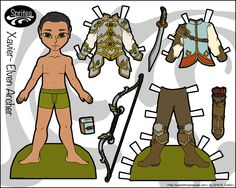 Xavier, one of my boy paper dolls, gets to be an elven archer in this fantasy paper doll set. Free to print from paperthinpersonas.com