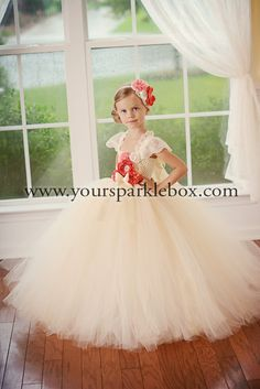 Ivory Coral Tutu Dress by YourSparkleBox . The perfect flower girl dress!