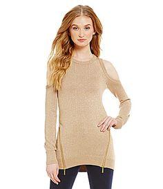 MICHAEL Michael Kors Cold Shoulder Zipper Metallic Knit Sweater #Dillards