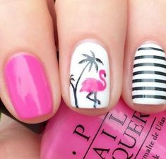 70 Trendy Spring Nail Designs And Colors Inspire You 2019 « Nails Tips New Nail Designs, Simple Nail Art Designs, Nail Designs Spring, Tropical Nail Art, Tropical Nail Designs, Flamingo Nails, Pink Flamingos, Nail Art Pictures, Beach Nails
