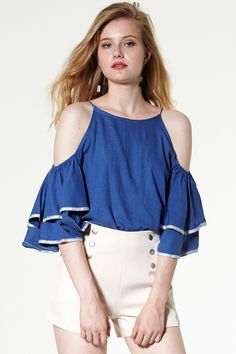 Tala Ruffled Sleeves Coldshoulder Top Discover the latest fashion trends online at storets.com