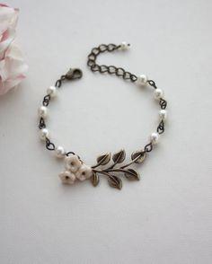 Brass Leaf Ivory Glass Flowers and Ivory Pearls Bracelet.