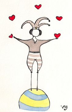 Love Juggler  Original Watercolor Painting by makingtodayyourday, $15.00