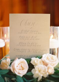 Calligraphed menu by Feast Fine Art & Calligraphy, www.feastcalligraphy.com / photography by Jose Villa / floral design by Flowerwild
