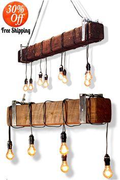 Industrial Beam Light with Edison Bulbs Offer Pendant Lighting Farmhouse Dining Room Lighting, Modern Farmhouse Lighting, Farmhouse Lamps, Rustic Pendant Lighting, Industrial Chandelier, Edison Lighting, Dining Lighting, Kitchen Island Lighting, Chandelier Pendant Lights