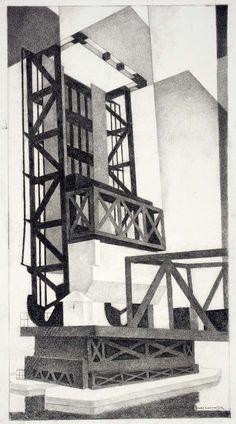Louis Lozowick - Drawbridge (1939)