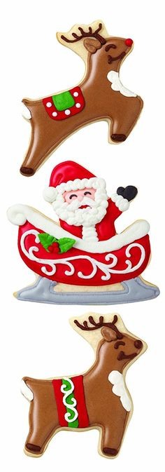 Wilton 2308-0328 Holiday 3-Piece Santa Reindeer Cookie Cutter -- SPECIAL OFFER AHEAD! : Baking Accessories