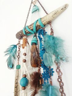 antler wall hanging- leather fringe, feathers, antler and sea glass wall hanging