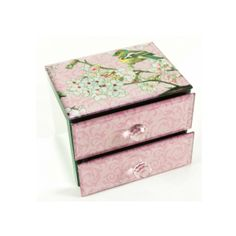 Pink Glass Covered Jewellery Trinket Box With Bird And Blossom Tree Print