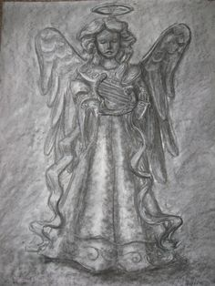 """""""Angel Study"""" Original Charcoal Drawing on by """"Orange Flower"""" Original Textured Acrylic Painting by Michelle Durell / Durell Studio"""