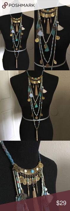 """☀️NEW☀️Armenian/Festival Style Necklace aqua Multi strand necklace features tassels, token coins, and feathers. Approximate 16"""" shortest strand, 42"""" longest point including tassel. Lobster claw clasp. Do to the handmade nature of the necklace variations in color and adornment placing may occur. This is a lightweight costume jewelry piece. Brand new boutique retail. No trades, no off App transactions or negotiations.    Festival Summer Stylish Fun Party Glamour Leoninus Jewelry Necklaces"""