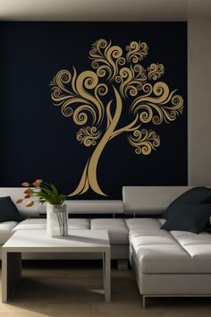 Floral Tree 2 Wall Decal is a beautiful floral tree wih details of curling branches and flowering buds. Tree Design On Wall, Wall Design, Tree Wall Art, Design Design, House Design, Vinyl Wall Decals, Wall Stickers, Tree Decals, Wallpaper Stickers