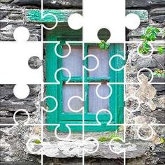 Window Green Jigsaw Puzzle, 48 Piece Classic. Old green window with four glass panes, peeling paint, slate